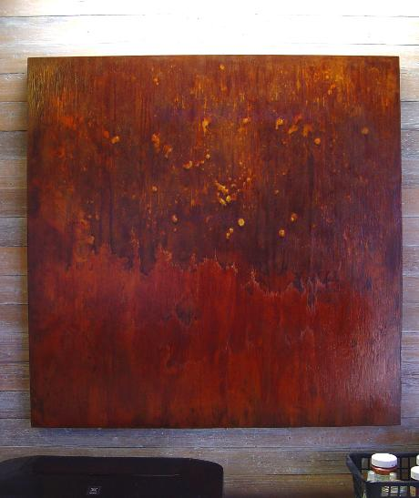 art, art gallery, DusekArtGallery, art studio, artist, Texas Artist, Central Texas Artist, Sandy Dusek, Home decor, abstract art, iron paint, acrylic paint, artboard, fire, warm colors