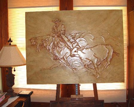 art, art gallery, DusekArtGallery, art studio, artist, Texas Artist, Central Texas Artist, Sandy Dusek, hunting, man cave, rodeo, cowboy, cows, county art, farm art, acrylic painting, warm colors, home decor, artboard, bas-relief, sculpted