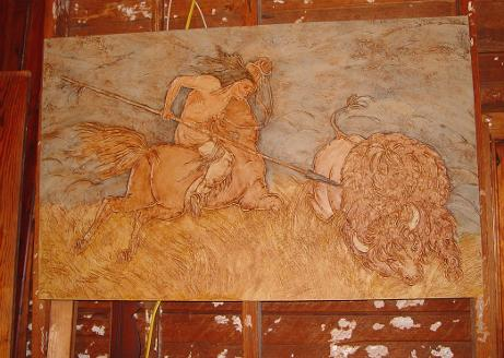 art, art gallery, DusekArtGallery, art studio, artist, Texas Artist, Central Texas Artist, Sandy Dusek, bas-relief, sculpted relief, warm tones, artboard, animals, horses, buffalo, Indians, hunting, man cave art, home decor, acrylic painting